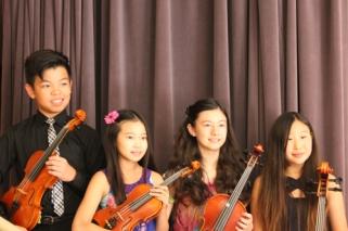 Mozart—String Quartet in A, K464, I. Allegro; Aaron Tom & Alysa Huang, violin; Alexandra Breschini, viola; Anna Yoon, cello