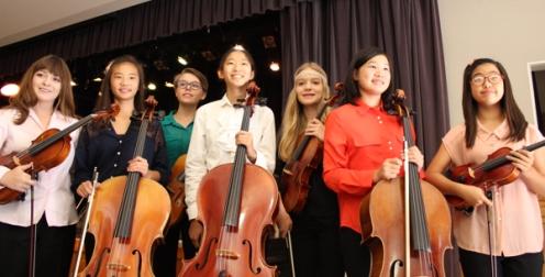"Wiancko—Variations on ""La Follia"" by Corelli & Geminiani (L to R) Elizabeth Dickelman (viola), Nara Park (cello), Halina Booy (viola), Anna Yang (cello), Charlotte Gash (viola), Tiana Lin (cello), Elin Jang (violin)"