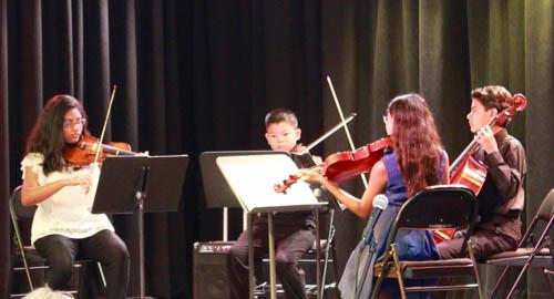 Haydn Quartet Op. 24/4, III. Minuet; (L to R) Tara Char (viola); Jacob Fernandez (cello); Aaron Tom (violin); Amara Miranda (violin)